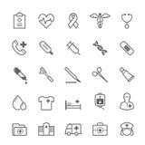 Reeks van het Medische pictogram van de Overzichtsslag Stock Afbeeldingen