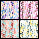 Reeks van het naadloze patroon van de mozaïekdriehoek Vector geometrische backgr Royalty-vrije Stock Afbeeldingen