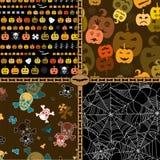 Reeks van het naadloze patroon van Halloween Stock Afbeeldingen
