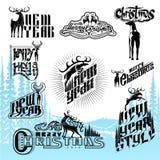 Reeks van het nieuwe jaar en Kerstmis verschillende van letters voorzien met deers Stock Afbeeldingen