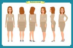 Reeks van het ontwerp van het Onderneemsterkarakter Voorzijde, kant, rug Bedrijfsmeisje, vrouw Beeldverhaalstijl, vlakke geïsolee stock illustratie