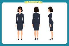 Reeks van het ontwerp van het Onderneemsterkarakter Voorzijde, kant, rug Bedrijfsmeisje, vrouw Beeldverhaalstijl, vlakke geïsolee royalty-vrije illustratie