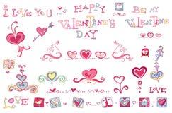 Reeks van het ontwerp van de Valentijnskaart ele Stock Fotografie