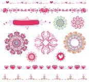 Reeks van het ontwerp van de Valentijnskaart ele Stock Afbeelding