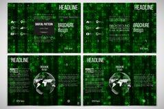 Reeks van het ontwerpmalplaatje van de trifoldbrochure aan beide kanten Virtuele werkelijkheid, abstracte technologieachtergrond  Stock Afbeeldingen