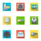 Reeks van het openbaar vervoer de verwante pictogram royalty-vrije illustratie