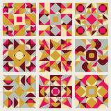 Reeks van het Patrooninzameling van het Negen Vector Naadloze Blauwe Roze Gele Witte Kleuren Retro Geometrische Etnische Vierkant Royalty-vrije Stock Foto's