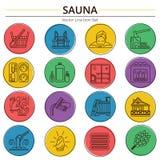 Reeks van het Pictogram van de Saunalijn royalty-vrije illustratie