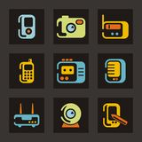 Reeks van het Pictogram van de technologie en de Communicatie vector illustratie