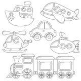 Reeks van het pictogram van het beeldverhaalvervoer Auto, onderzeeër, schip, vliegtuig, trein, helikopter vector illustratie