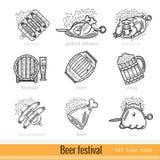 Reeks van het Pictogram van het het Overzichtsweb van het Bierfestival Royalty-vrije Stock Foto's
