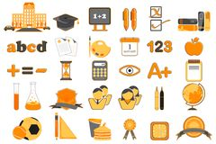 Reeks van het Pictogram van het Onderwijs Stock Fotografie