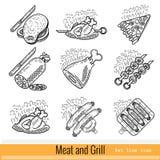Reeks van het Pictogram van het Overzichtsweb BBQ van de vleesgrill Stock Foto's