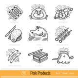 Reeks van het Pictogram van het Overzichtsweb BBQ van de vleesgrill Varkensvleesproducten Stock Afbeelding