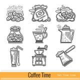 Reeks van het Pictogram van het Overzichtsweb De tijd van de koffie Royalty-vrije Stock Fotografie