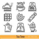 Reeks van het Pictogram van het Overzichtsweb De Tijd van de thee Stock Afbeelding