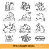Reeks van het Pictogram van het Overzichtsweb Huisdieren en producten Stock Afbeelding