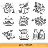 Reeks van het Pictogram van het Overzichtsweb landbouwproducten Royalty-vrije Stock Foto's