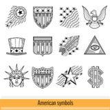 Reeks van het Pictogram van het Overzichtsweb Symbolen van Amerika de V.S. Royalty-vrije Stock Foto's