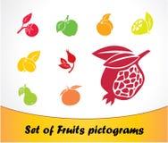 Reeks van het pictogram van Vruchten. Stock Fotografie