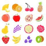 Reeks van het pictogramillustratie van het krabbelhand getrokken fruit Stock Fotografie