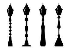 Reeks van het postsilhouet van de thelampère Isoleer op wit Vector illustratie royalty-vrije illustratie