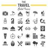 Reeks van het reis de stevige pictogram, de inzameling van toerismesymbolen vector illustratie