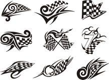 Reeks van het rennen van tatoegeringen met geruite vlaggen Stock Fotografie