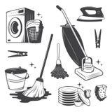 Reeks van het schoonmaken van hulpmiddelen stock illustratie