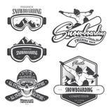 Reeks van het snowboarding van emblemen royalty-vrije illustratie