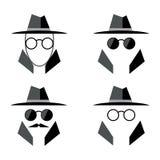 Reeks van het spion de vlakke pictogram Incognito pictogramembleem Oogglazen en hoedenpictogram Mens in kostuum Stock Foto's