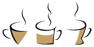 Reeks van het stomen van koffiemokken royalty-vrije illustratie