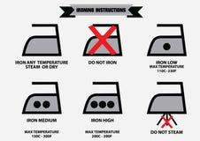 Reeks van het strijken van instructiesymbolen Stock Illustratie