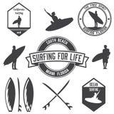 Reeks van het surfen van emblemenbundel, emblemen en kentekens Royalty-vrije Stock Foto