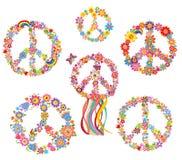 Reeks van het symbool van de Vredesbloem stock illustratie