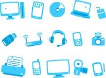 Reeks 1 van het technologie blauwe pictogram Stock Fotografie