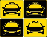 Reeks van het teken van taxiauto's Stock Foto's