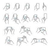 Reeks van het telefoon in hand pictogram Royalty-vrije Stock Foto