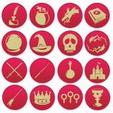Reeks van het tovenaars de magische pictogram Royalty-vrije Stock Afbeeldingen