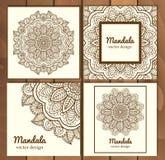 Reeks van het traditionele concept van de het ornamentillustratie van bloemmandala Uitstekende kunst traditionele islam, Arabisch Royalty-vrije Stock Afbeelding