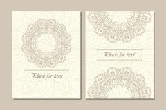 Reeks van het traditionele concept van de het ornamentillustratie van bloemmandala Uitstekende kunst traditionele islam, Arabisch Stock Fotografie
