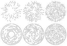 Reeks van het uitstralen en concentrisch lijnenelement Willekeurig, onregelmatig stock illustratie