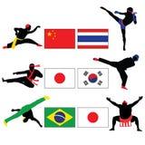 Reeks van het Vechten en Aziatische Vechtsportenvector Royalty-vrije Stock Afbeeldingen