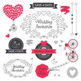 Reeks van het vector uitstekende ontwerp van de huwelijksuitnodiging vector illustratie
