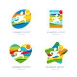 Reeks van het vectorembleem van de de zomersport, etiketten, kentekens, emblemen Menselijke sportenpictogrammen Royalty-vrije Stock Afbeelding