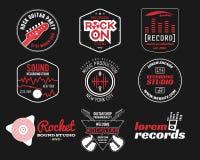 Reeks van het vectorembleem van de muziekproductie, etiket, sticker Stock Afbeeldingen