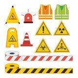Reeks van het vectorteken van de illustratievoorzichtigheid voor veiligheidsmateriaal vector illustratie