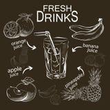 Reeks van het verfrissen van fruitdranken Stock Afbeelding