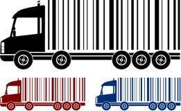 Reeks van het verschepen van vrachtwagens met streepjescode Royalty-vrije Stock Afbeeldingen