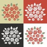 Reeks van het verschillende boeket van het kleurenthema van swirly rozen Stock Fotografie